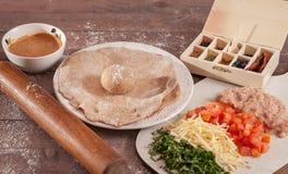 Ingridients für Taco auf hölzernem Hintergrund Stockfotografie
