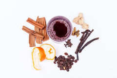Ingridients for hot xmas mulled wine. Ingridients for xmas mulled wine royalty free stock photos
