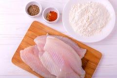 Ingridients para o tilapia fritado dos peixes Faixa crua, fleur, cominhos imagem de stock