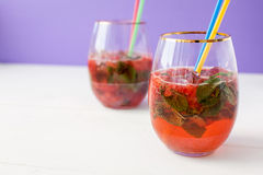 Ingridients for strawberry mohito cocktail Royalty Free Stock Image