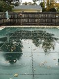 Inground pool with safety cover Stock Image
