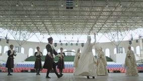 Ingushetia Folk Ensemble Dances in National Costumes stock video footage