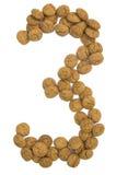 Ingwer-Nuts Zahl drei lizenzfreies stockfoto
