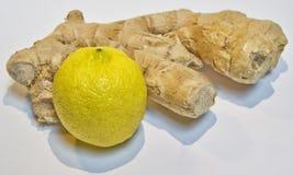 Ingwerwurzel mit Zitrone auf einem weißen Hintergrund Stockfoto