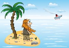 The inhabitant of island. Lonely the man living on a small desert island Royalty Free Illustration