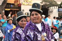 The inhabitants of the city during the carnival in honor of the virgin of Guadalupe. Royalty Free Stock Images