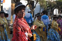 The inhabitants of the city during the carnival in honor of the virgin of Guadalupe Royalty Free Stock Images