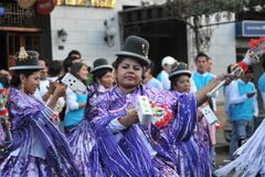 The inhabitants of the city during the carnival in honor of the virgin of Guadalupe Royalty Free Stock Photos