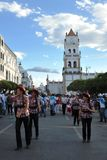 The inhabitants of the city during the carnival in honor of the virgin of Guadalupe Stock Photos
