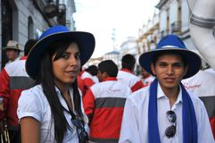 The inhabitants of the city during the carnival in honor of the virgin of Guadalupe Stock Photography