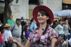 The inhabitants of the city during the carnival in honor of the virgin of Guadalupe. Stock Photo