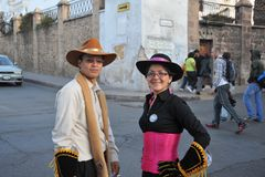 The inhabitants of the city during the carnival in honor of the virgin of Guadalupe. Royalty Free Stock Photography
