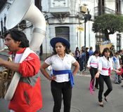 The inhabitants of the city during the carnival in honor of the virgin of Guadalupe. Royalty Free Stock Image