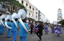 The inhabitants of the city during the carnival in honor of the virgin of Guadalupe. Stock Images