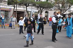 The inhabitants of the city during the carnival in honor of the virgin of Guadalupe. Royalty Free Stock Photo