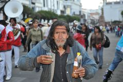 The inhabitants of the city during the carnival in honor of the virgin of Guadalupe. Stock Photography