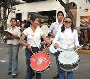The inhabitants of the city during the carnival in honor of the virgin of Guadalupe. Stock Image