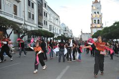 The inhabitants of the city during the carnival in honor of the virgin of Guadalupe Stock Photo