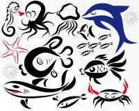 Inhabitants of depths. A vector set of various inhabitants of depths Royalty Free Stock Images