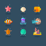 Inhabitants of Sea and Ocean. Flat Vector Illustration Set. Stock Images