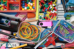 Inhabitants of the Stationery Drawer Background Stock Images