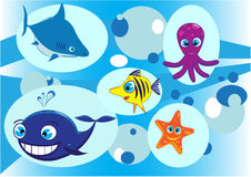 Inhabitants of the underwater world. Vector drawing of the different sea animals represented on blue background by the company, cheerful picture Stock Photo