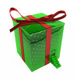 Inhabited Gift. Gift 3d, big wrapped box with a doorway, isolated, over white Royalty Free Stock Images
