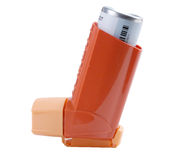 Inhalador del asma aislado en blanco Imágenes de archivo libres de regalías