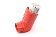 Inhalador rojo del asma Fotografía de archivo
