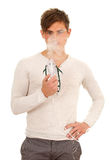 Inhalation man keeping inhale mask Royalty Free Stock Image