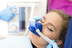 Inhalation Sedation at Clinic Stock Photo