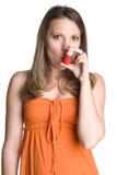 Inhalator-Mädchen stockfoto