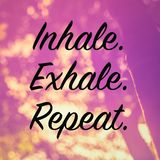 Inhale. Exhale. Repeat. Quote on nature background, retro color style Royalty Free Stock Image