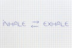 Inhale exhale text with double arrows in between. Lifestyle and meditation concept Royalty Free Stock Photography