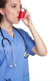 Inhaler άσθματος νοσοκόμα Στοκ Φωτογραφίες