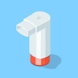 Inhaler for asthmatic. Inhaler for asthmatic on blue. Isometric  illustration Stock Image