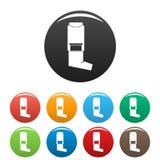 Inhaler icons set color vector illustration