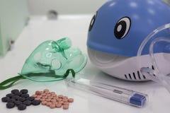 Inhaler. Nebulizer inhaler on white reflection background, Medical healthcare concept Stock Photography