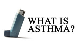 Inhaler on a white background with the words Asthma. Treatment of respiratory diseases. World Asthma day. Stock Photos