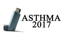 Inhaler on a white background with the words Asthma. Treatment of respiratory diseases. World Asthma day. Royalty Free Stock Photo