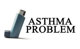 Inhaler on a white background with the words Asthma. Treatment of respiratory diseases. World Asthma day. Stock Image