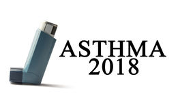 Inhaler on a white background with the words Asthma. Treatment of respiratory diseases. World Asthma day. Royalty Free Stock Photos