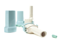 Inhalers. Multiple-dose inhalers for the treatment of bronchial asthma on a white background Royalty Free Stock Photos