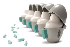 Inhalers  and pills Stock Photos
