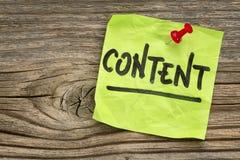 Inhalt - Anzeigenanmerkung Stockfotos