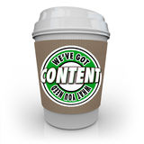 Inhalt haben wir, was Sie Wort-Kaffeetasse benötigen Lizenzfreie Stockbilder