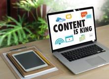 INHALT IST KÖNIG seo Suchmaschinen-Optimierung und Inhalt marke Lizenzfreies Stockbild