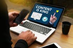 INHALT IST KÖNIG seo Suchmaschinen-Optimierungs- und Inhaltskennzeichen Stockbild