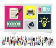 Inhalt schließt Social Media-Daten-Blog-Konzept an Stockbild