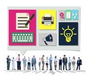 Inhalt schließt Social Media-Daten-Blog-Konzept an Lizenzfreies Stockfoto